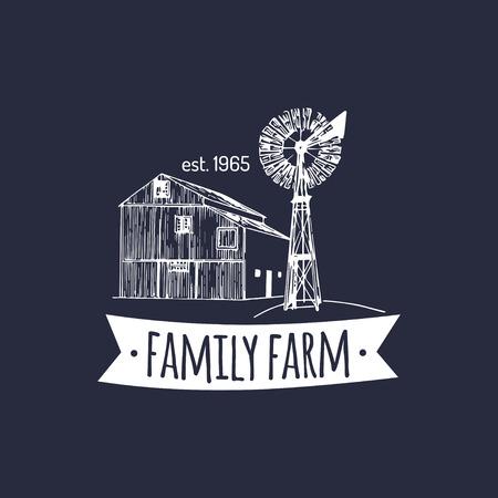벡터 복고풍 가족 농장 로고입니다. 유기농 프리미엄 품질의 제품 배지. 빈티지 손으로 스케치 헛간과 풍차 아이콘 일러스트