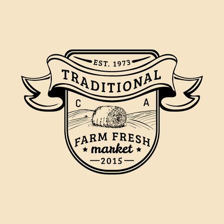 Vector retro farm fresh logotype. Organic premium quality products logo. Vintage hand sketched haystack icon. Ilustração
