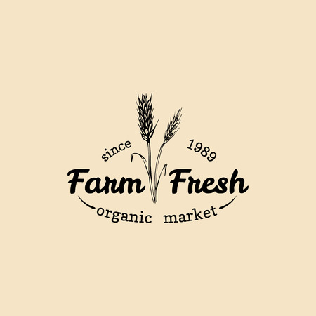 Vector retro farm fresh logotype. Organic premium quality products badge. Eco food sign. Vintage hand sketched ear icon. Illustration