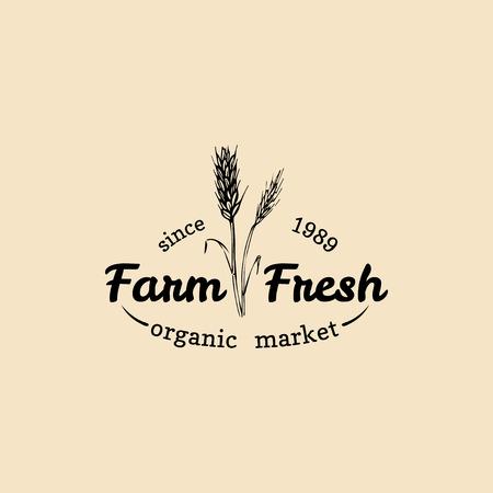 Vector retro farm fresh logotype. Organic premium quality products badge. Eco food sign. Vintage hand sketched ear icon. Çizim