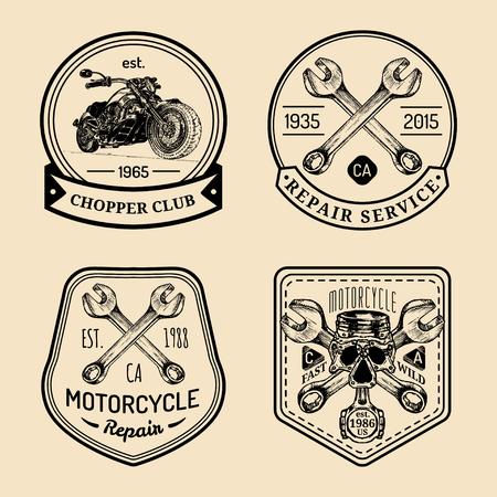 Creative Vector vintage biker club signs. Motorcycle repair logos set. Hand sketched garage labels. Custom chopper store emblems.