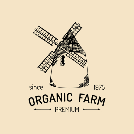 Vector retro family farm logotype. Organic premium quality products sign. Vintage hand sketched windmill icon.