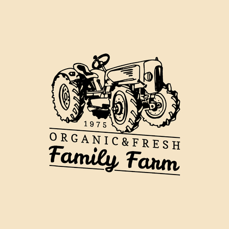 Vector retro family farm logotype. Organic premium quality products logo. Vintage hand sketched tractor icon.  イラスト・ベクター素材