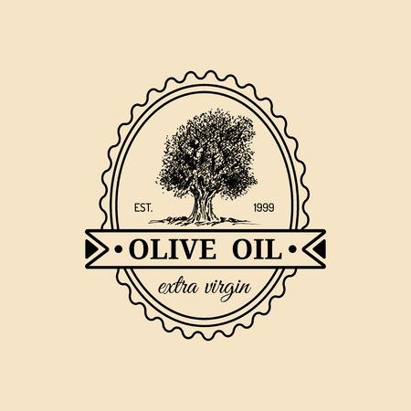 tree: Vector vintage extra virgin olive oil logo. Retro emblem with tree. Hand sketched rural farm production sign. Illustration