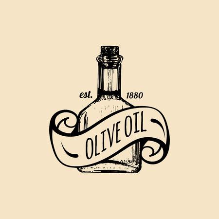 Vector vintage olive logo. Retro emblem with organic oil bottle. Hand sketched rural farm production sign. Illustration
