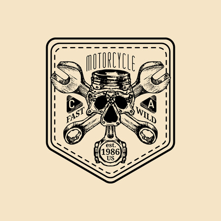 Vector vintage motorcycle repair logo. Retro garage label with hand sketched wrenches and skull. Biker club sign.