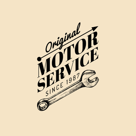 Vector Vintage Motorcycle Repair Logo Retro Garage Label With Hand Sketched Wrench Custom Chopper