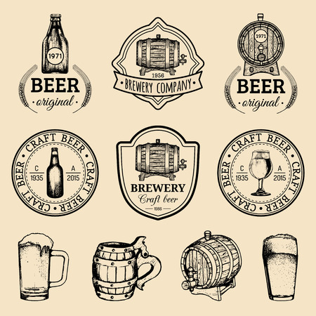 Old brewery logos set. Kraft beer retro images with hand sketched glass, barrel etc. Vector vintage labels or badges.  イラスト・ベクター素材