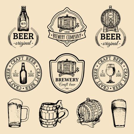 Old brewery logos set. Kraft beer retro images with hand sketched glass, barrel etc. Vector vintage labels or badges. Illustration