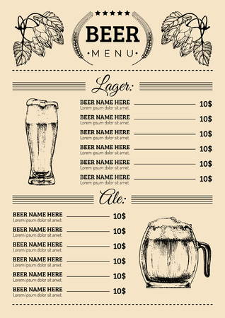 Beer menu design template.Vector pub, restaurant card with hand sketched lager,ale illustrations. Brewery elements icons Иллюстрация