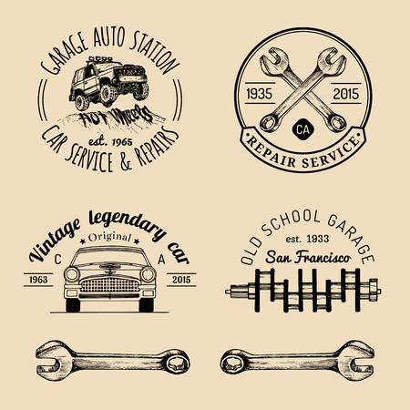 Garage Logos Set Car Repair Emblems Collection Vector Vintage - Car signs logos