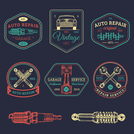Garage logos set. Car repair emblems collection. Vector vintage sketched auto service signs for advertising posters etc. Illustration