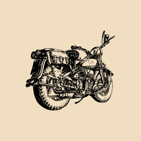 Vector hand drawn vintage detailed retro bike illustration for chopper company, store, custom garage label, MC logo etc.