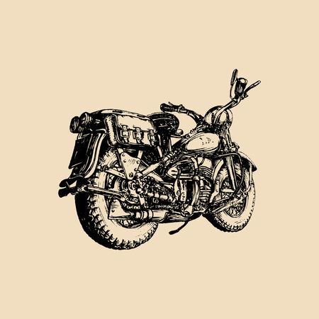 Vector hand drawn vintage detailed retro bike illustration for chopper company, store, custom garage label, MC logo etc.