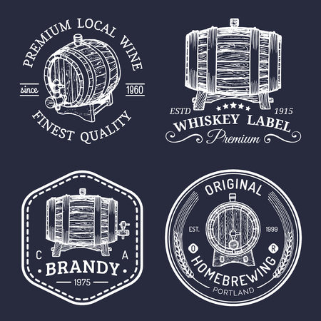 distillery: Alcohol logos.Wooden barrels set with drinks signs of cognac,brandy,whiskey,wine,beer.Labels, badges with sketched kegs. Illustration