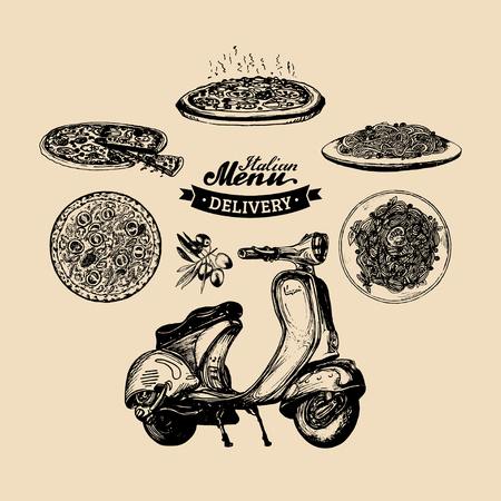 Vector pizza delivery scooter.Hand sketched retro motorroller with italian food illustration.Advertising poster, banner.