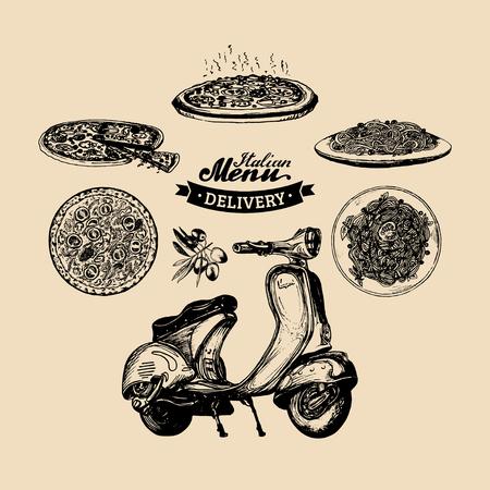 Vector pizza levering scooter.Hand geschetste retro motorroller met Italiaanse voedsel illustration.Advertising poster, banner.