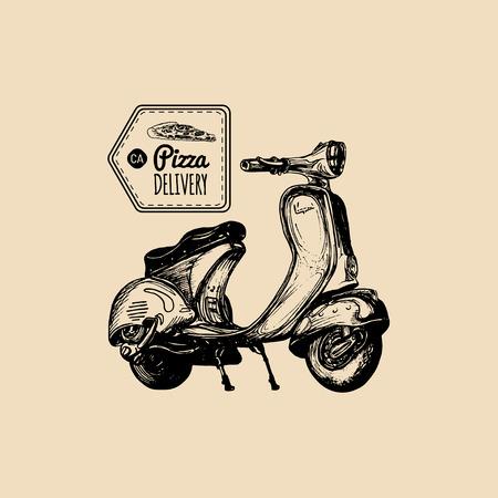 Vector pizza levering scooter. Geschetste retro motorroller met Italiaanse voedselillustratie. Typografische reclameaffiche