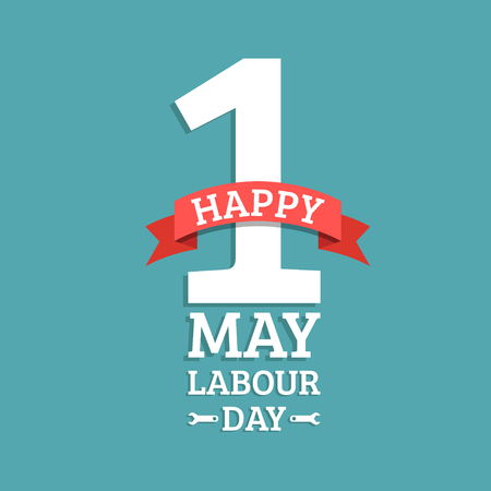 Happy May Day lettering vector background. Labour Day logo concept with wrenches.International Workers day illustration.