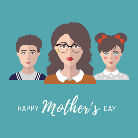 mother and baby: Happy Mothers Day greeting card with mom, children in flat style.