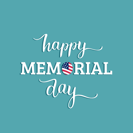 Happy Memorial Day card, festive poster with hand lettering.