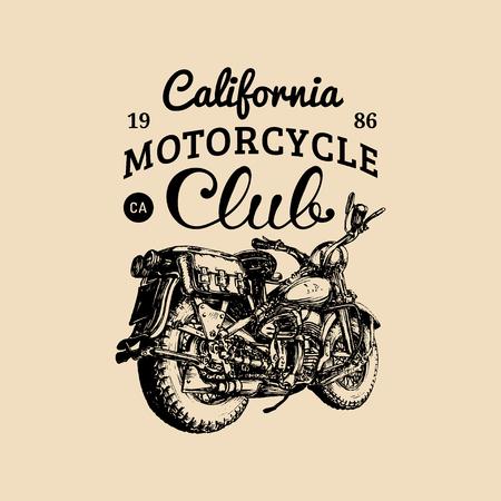 Vector hand logo dessiné club moto. illustration vélo vintage rétro détaillée dans le style d'encre pour la société de hachoir, etc.