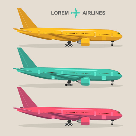 Vector airplanes set. Aviation illustrations in flat style. Different colors jets collection.