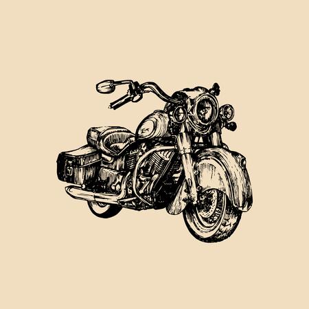 Vector hand drawn cruiser for MC,biker logo,label.Vintage detailed motorcycle illustration for custom chopper store etc. Illustration