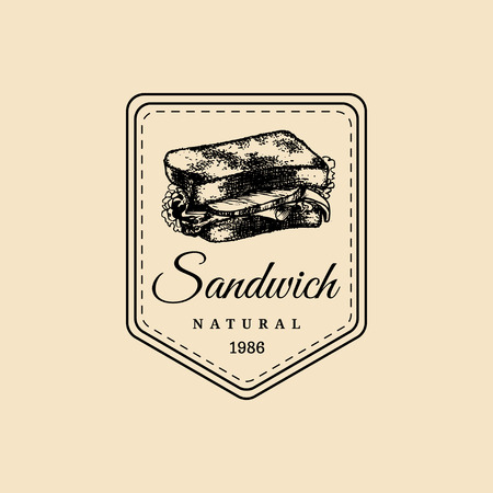 eatery: Vector vintage fast food logo. Hipster natural sandwich label, sign. Bistro icon. Street eatery emblem. Illustration