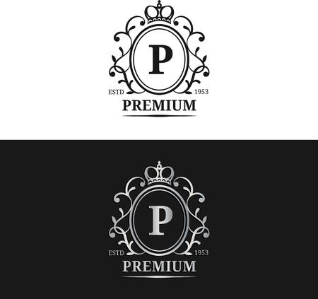 royal wedding: Vector monogram logo template.Luxury letter design. Graceful vintage character with crown illustration.Used for hote etc Illustration