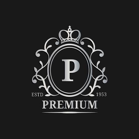 Vector monogram logo template.Luxury letter design. Graceful vintage character with crown illustration.Used for hote etc Illustration