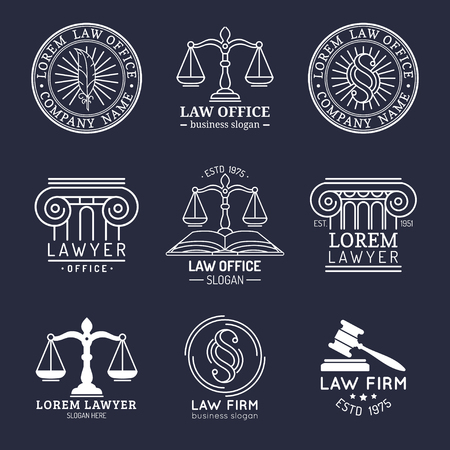 Law office logos set with scales of justice,gavel etc illustrations. Vector vintage attorney,advocate labels collection. Logo