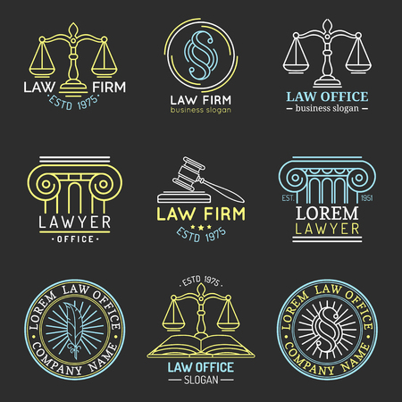 법률 사무실 로고 정의, gavel 등 일러스트의 비늘으로 설정합니다. 벡터 빈티지 변호사, 옹호 레이블 컬렉션입니다.