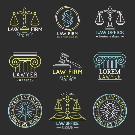 Anwaltskanzlei Logos mit Waage der Gerechtigkeit, Hammer usw. Illustrationen gesetzt. Vektorweinleseanwalt, Anwalt beschriftet Sammlung. Standard-Bild - 76309931