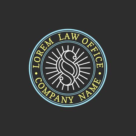 Advocatenkantoor logo. Vector uitstekende procureur, verdedigeretiket, juridisch stevig kenteken. Handeling, principe, juridisch pictogramontwerp.