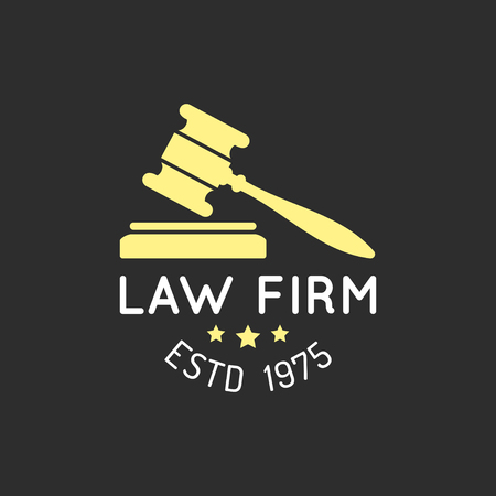 themis: Law office logo with gavel illustration.Vector vintage attorney, advocate label,badge. Act,principle,legal icon design.
