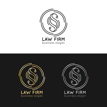 Law office logo's instellen. Vector uitstekende procureur, verdedigingsetiketten, juridische bedrijfskentekens. Handelingsbeginsel, juridische pictogrammen.
