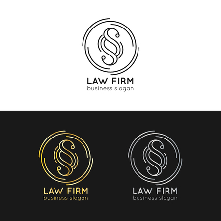 Law office logos set. Vector vintage attorney, advocate labels, juridical firm badges. Act, principle, legal icons.