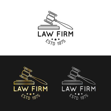 themis: Law office logos set with gavel illustration. Vector vintage attorney, advocate labels,juridical firm badges collection. Illustration