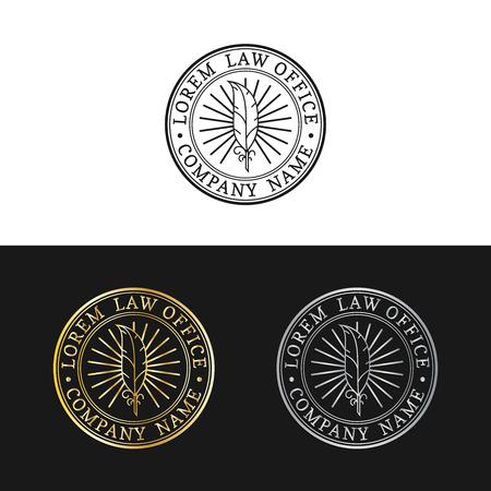 Law office logo's instellen. Vector uitstekende procureur, verdedigingsetiketten, juridische bedrijfskentekens. Act, principe, legaal iconenontwerp.
