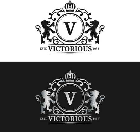 Vector monogram logo sjabloon. Luxe briefontwerp. Gracieus vintage karakter met kroon en leeuwen illustratie. Stock Illustratie