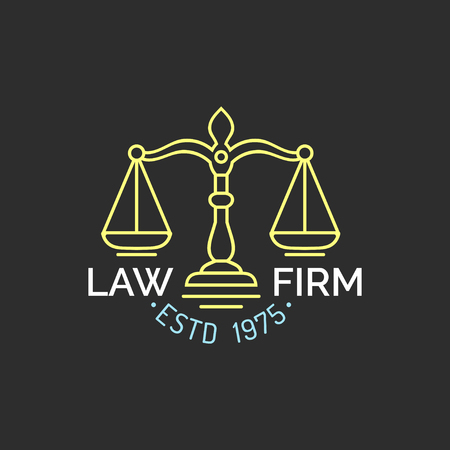 themis: Law office logo with scales of justice illustration. Vector vintage attorney, advocate label, juridical firm badge.