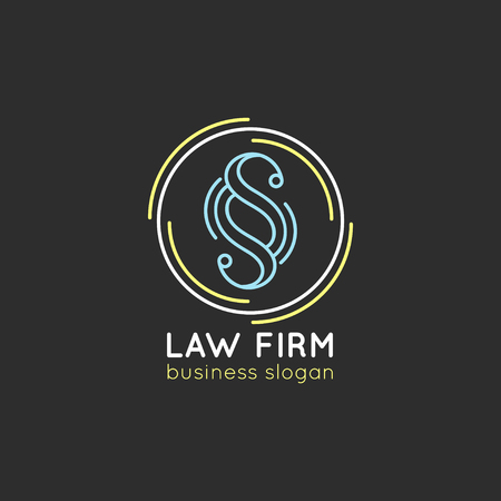 scale icon: Law office logo. Vector vintage attorney, advocate label, juridical firm badge. Act, principle, legal icon design.