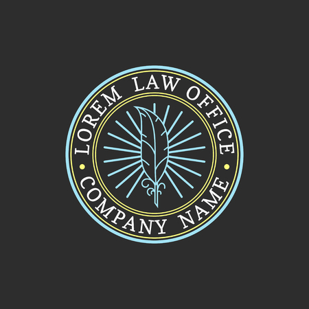 Law office logo. Vector vintage attorney, advocate label, juridical firm badge. Act, principle, legal icon design.