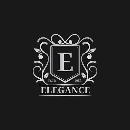 royal wedding: Vector monogram logo template. Luxury letter design. Graceful vintage character illustration. Used for hotel etc. Illustration