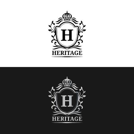 royal wedding: Vector monogram logo template. Luxury letter design. Graceful vintage character with crown illustration for hotel etc.