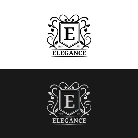 e auction: Vector monogram logo template. Luxury letter design. Graceful vintage character illustration. Used for hotel etc. Illustration