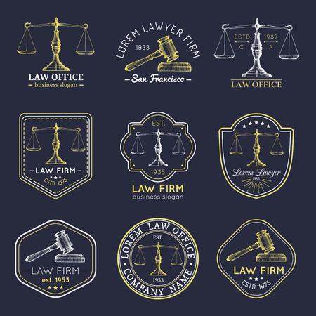 Law office logos set with scales of justice, gavel illustrations. Vector vintage attorney, advocate labels, firm badges. Logo