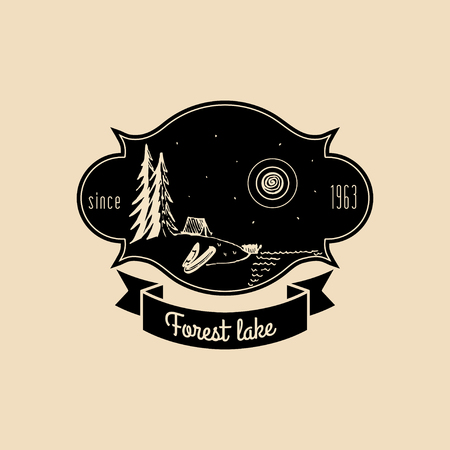 Vector camp logo. Tourism sign with hand drawn lake shore landscape. Retro hipster emblem, badge of outdoor adventures.