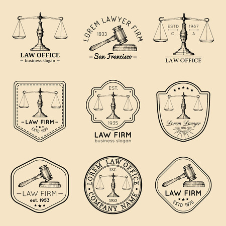 scale icon: Law office logos set with scales of justice, gavel illustrations. Vector vintage attorney, advocate labels, firm badges.